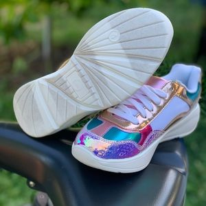 wonder nation Shoes - Wonder Nation Girls Chunky Retro Metallic Sneakers